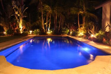 Blue night pool